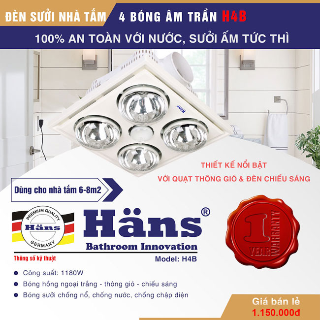 Đèn sưởi nhà tắm Hans 4 bóng H4B176