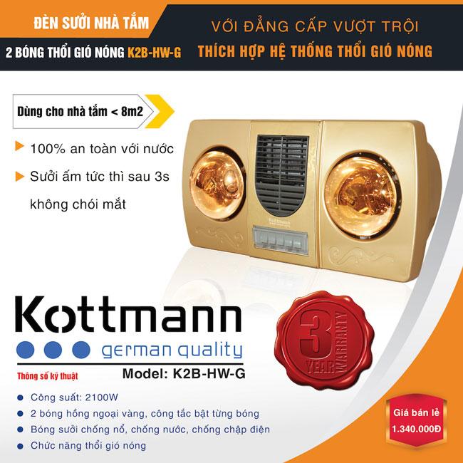 Đèn sưởi nhà tắm Kottmann 2 bóng thổi gió nóng K2B- HW-G