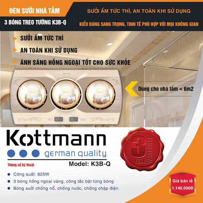 Đèn sưởi nhà tắm Kottmann 3 bóng - K3B-Q - Nhà phân phối