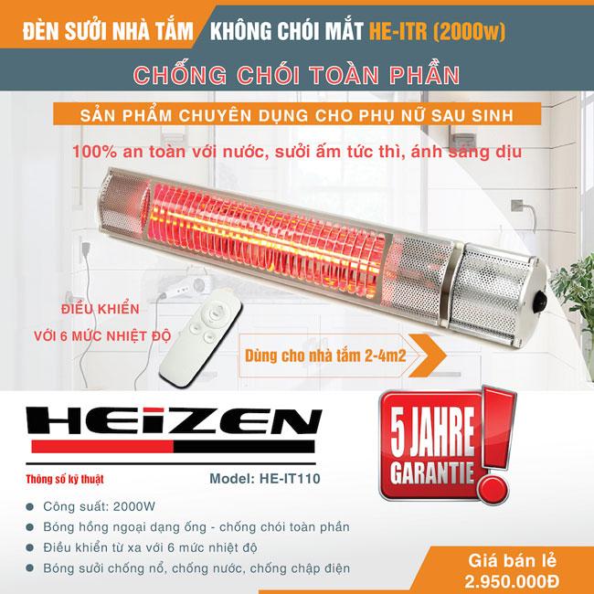 Đèn sưởi nhà tắm chống chói toàn phần Heizen HEIT-R