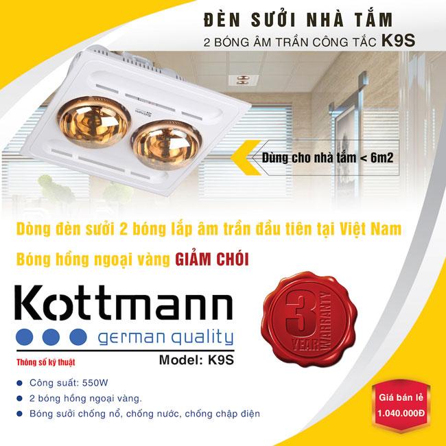 Đèn sưởi nhà tắm Kottmann 2 bóng âm trần - K9-S